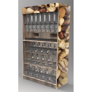 Bulk food nuts display
